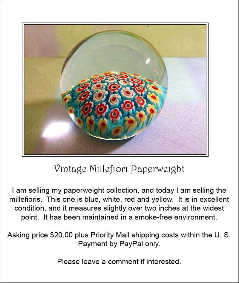 Millefiori paperweights blue ad sale 002