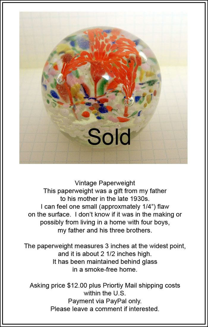 Paperweight ad sold