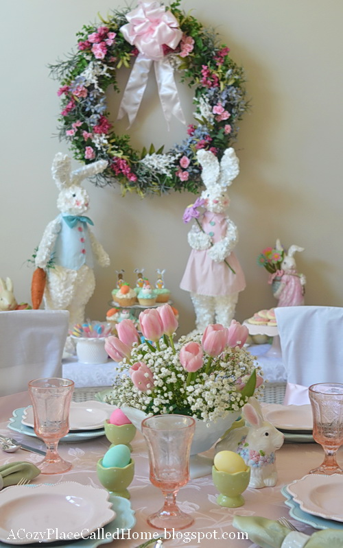 Easter Dessert Table- Buffet and Table Straight On