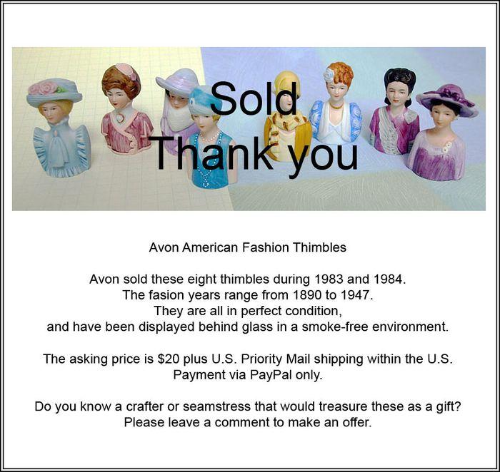 Avon Thimbles ad sold