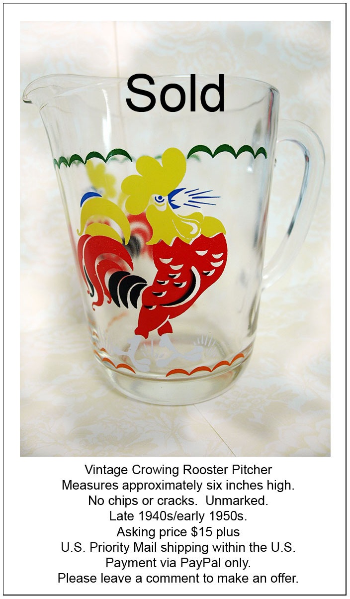 Rooster Pitcher edit e-mail sold