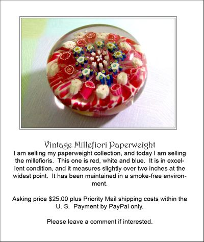 Millefiori paperweights red ad sale 003