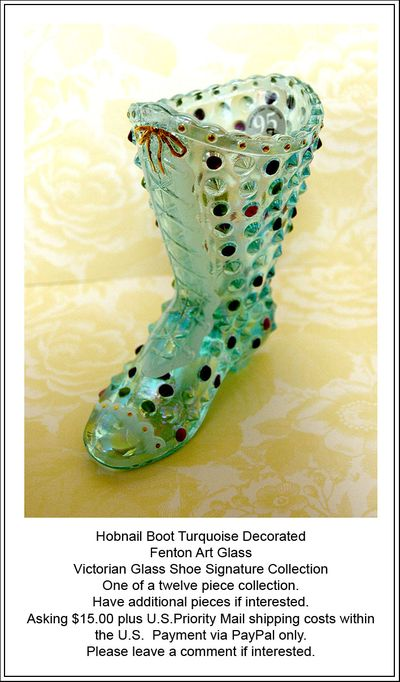 Turquoise Boot Fenton Art Glass ad