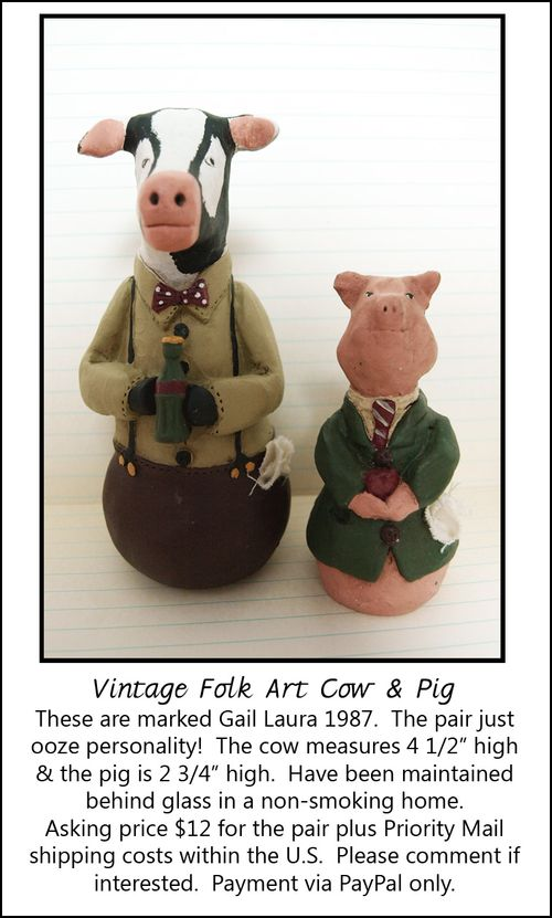 Folk Art Cow and Pig Ad