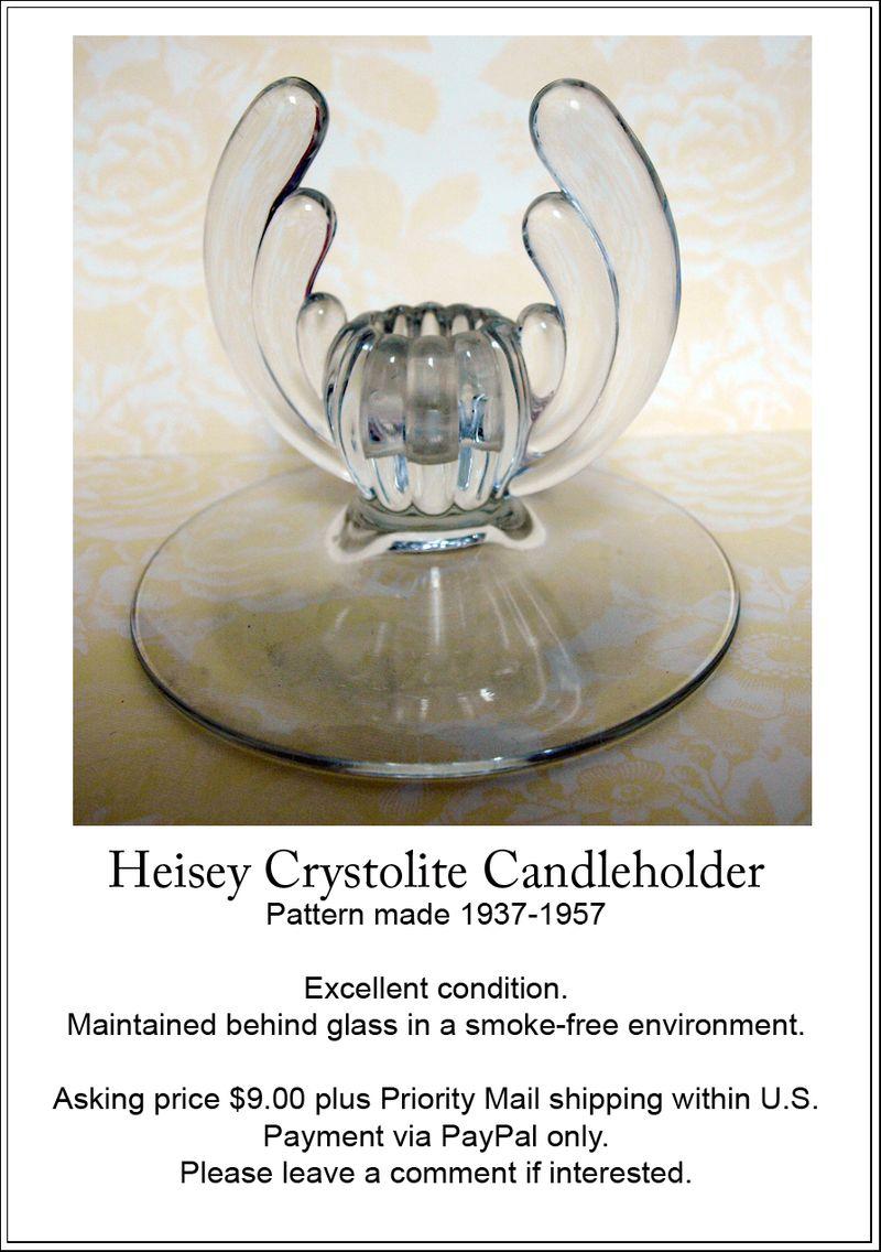Heisey candleholder add ee