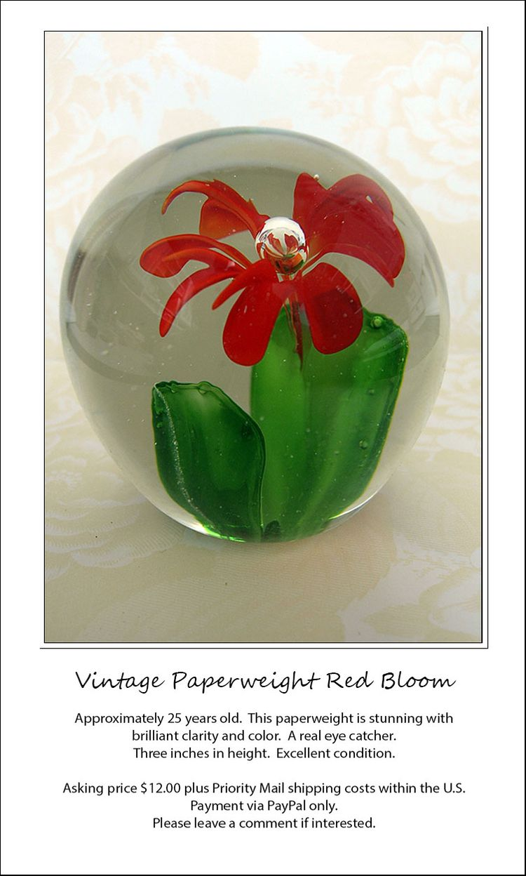 Red Bloom Paperweight ad