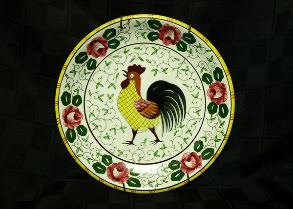 Rooster and Roses Plate