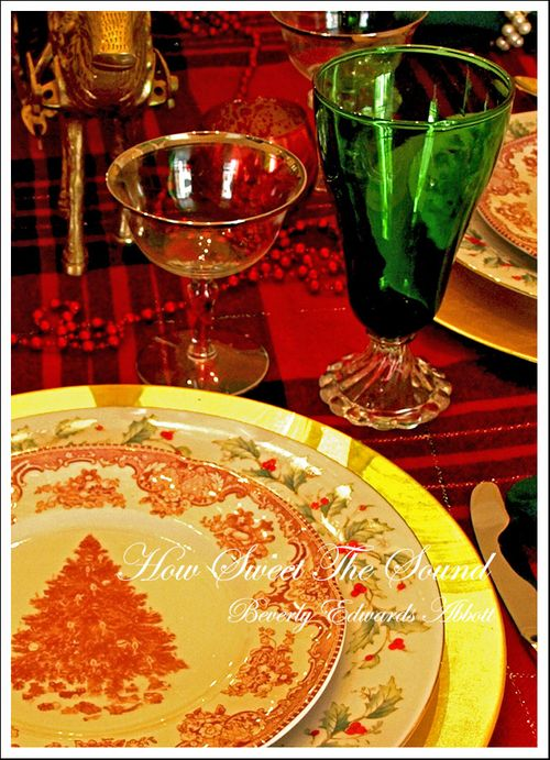Christmas Day Dinner Vintage Glassware