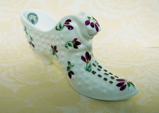 Milkglass Hobnail Shoe Fenton Art Glass
