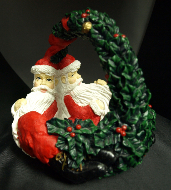 Santa and Holly Basket